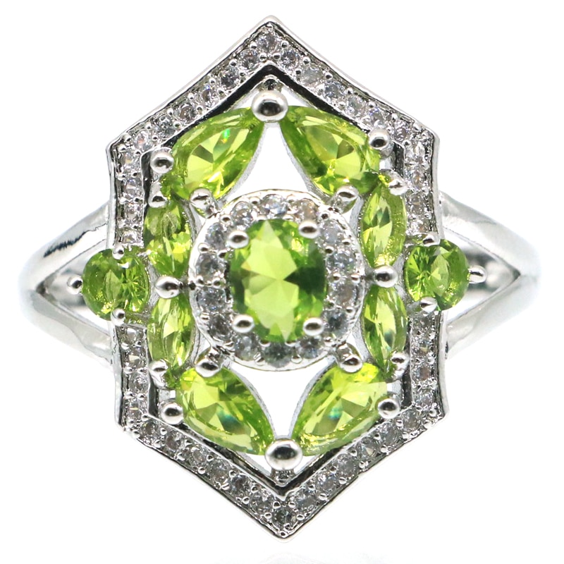 23x17mm Anniversary Created Green Peridot White CZ Ladies Wedding Silver Rings Wholesale Drop Shipping