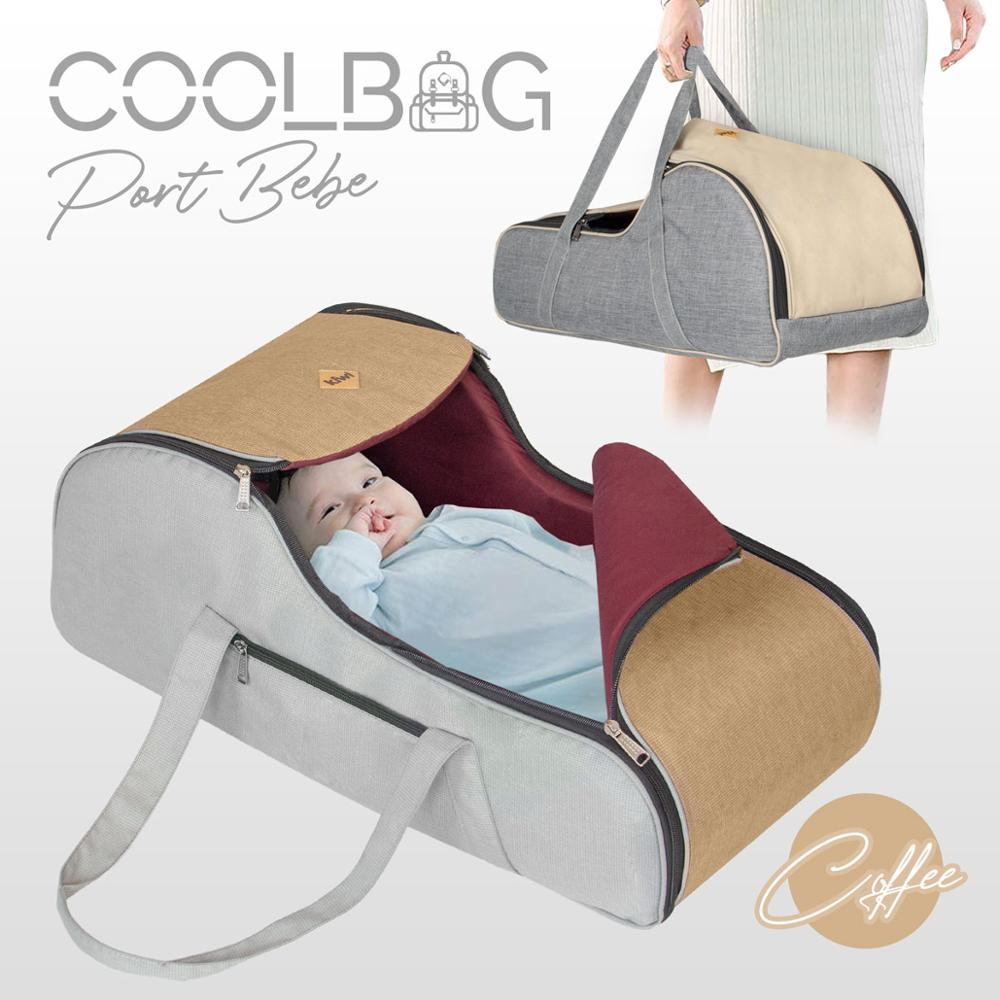 Jaju Baby Kiwi Coolbag Waterproof Imported Fabric Carry Cot - Coffee