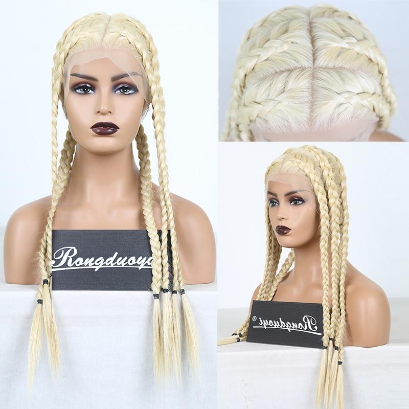 Rongduoyi longo loira peruca de renda completa sintética resistente ao calor trançado perucas para mulheres parte profunda cosplay loira peruca tranças perucas