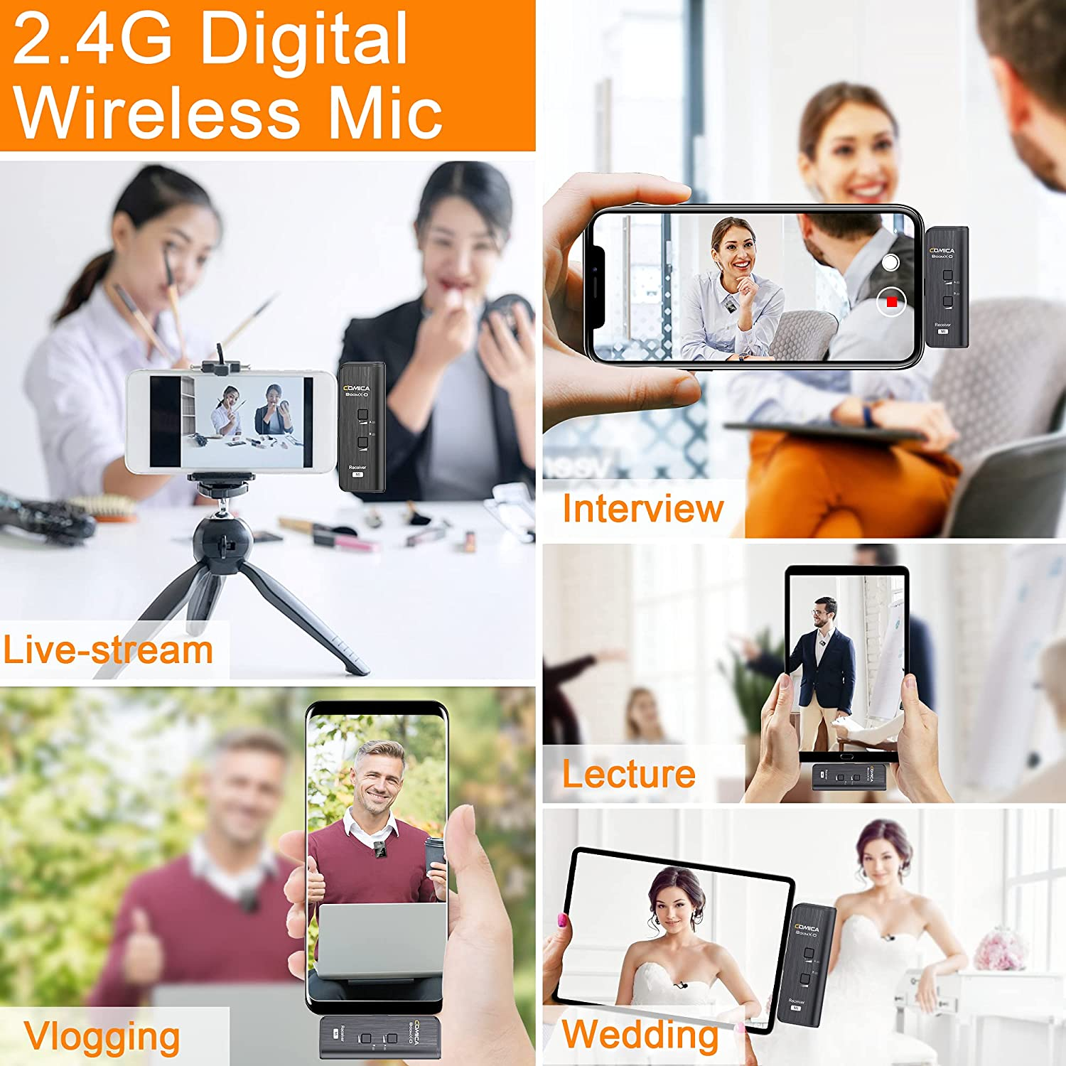 Comica BoomX-D 2.4G Dual Channel Wireless Lavalier Microphone for iPhone iOS Android Phone PC Video Recording Streaming Youtube