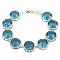 15x15mm shecrown luxury big round 25g london blue topaz cz wedding dating 925 sterling silver bracelet 7 5 8 5