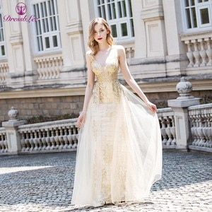 2020 Sexy Straps Long Prom Dresses Sparkly Rose Gold Crystals Tulle Sweet Party Dress Backless Formal Dance Dress Vestidos