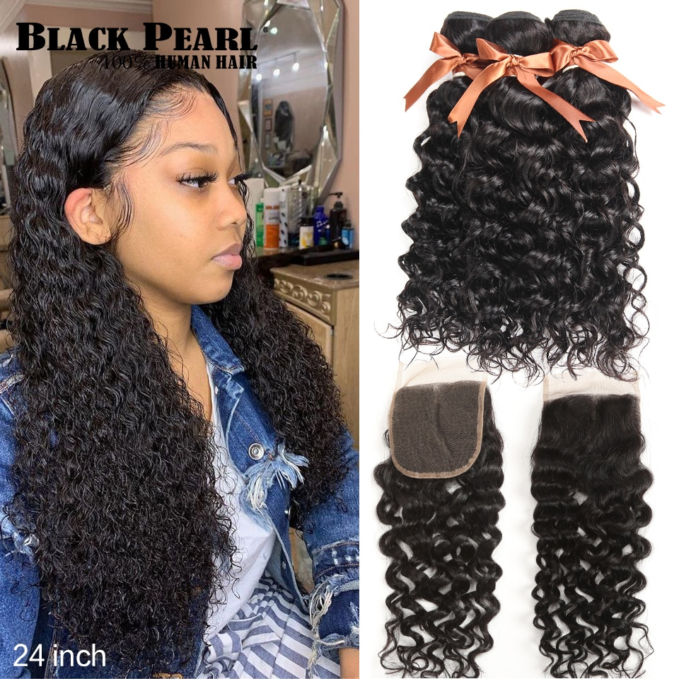 Black Pearl-وصلات شعر برازيلية مموجة ، مجموعة من 3 شرائط ، شعر بشري ريمي ، إغلاق