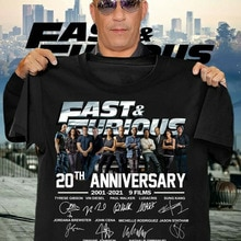 FastและFurious 20th Anniversary 2001 2021 9ภาพยนตร์ขอบคุณเสื้อยืด