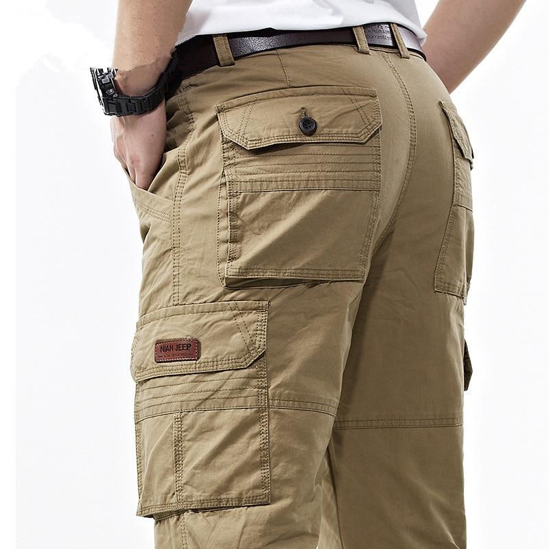 Мужские повседневные длинные брюки с множеством карманов, мужские комбинезоны, брюки-карго в стиле милитари, весенние хлопковые мешковатые...