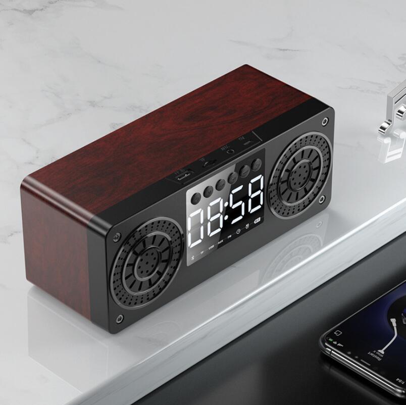 Wood Bluetooth Wireless Audio Bass Alarm Clock Outdoor Portable TF Card High-Quality Waterproof Creative FM Speaker enlarge