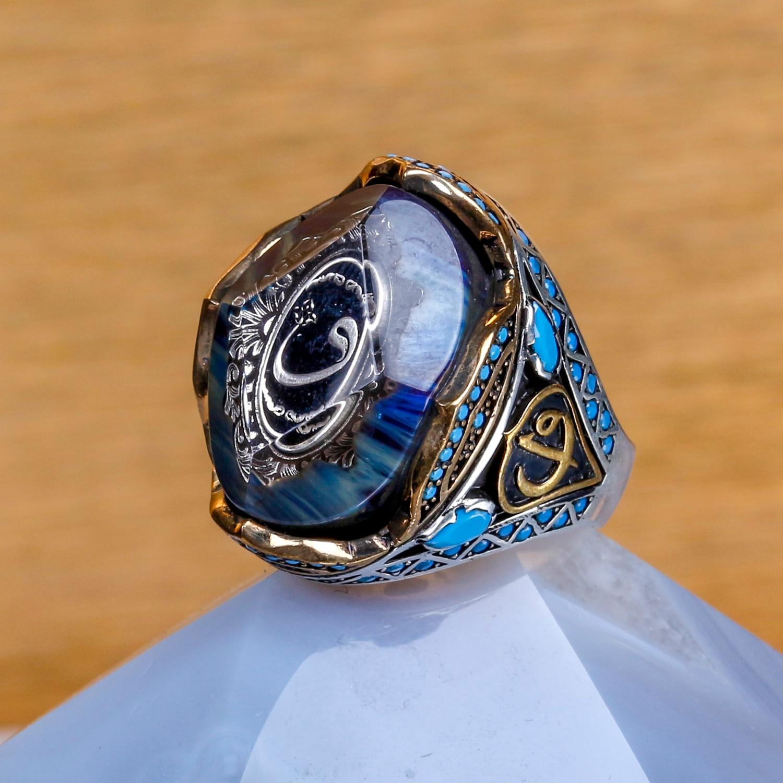 Ala Series-خاتم فضي بتصميم Vav على حجر كاتالين ، مجوهرات يدوية تركية عالية الجودة