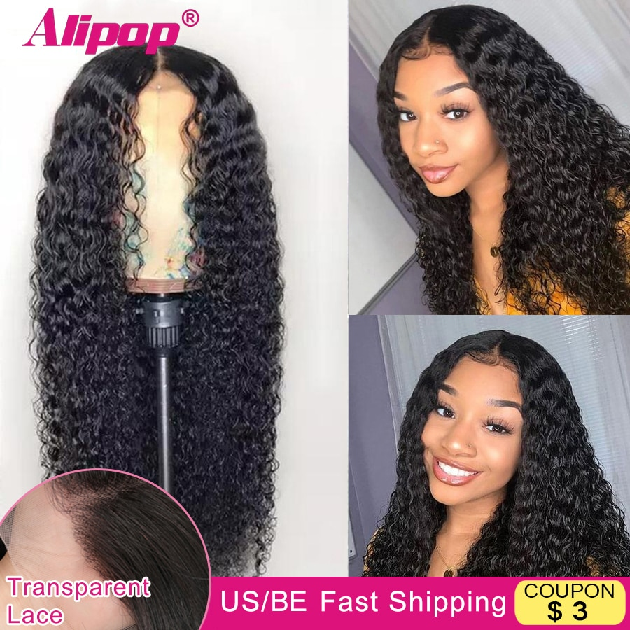 Alipop Curly Lace Front Wig Transparent Lace Wigs For Women Human Hair Wigs 4x4 Lace Closure Wig Remy TPart Curly Human Hair Wig