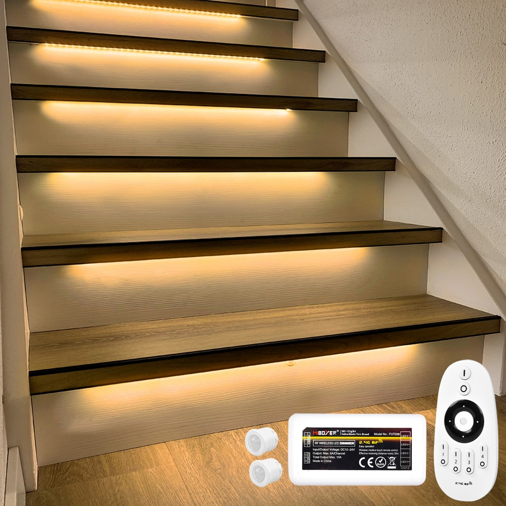 13 Steps 1.3M LED Strip lighting for stair with Motion Sensor and Milight wireless dimmer-Plug and Play enlarge
