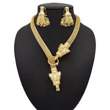 Mirafeel Dubai ensembles de bijoux grand collier tête de mouton forme Bracelet boucles doreilles pour les femmes ensembles de bijoux de mariage pour la mariée