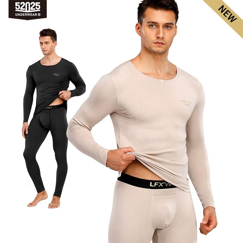 52025 Men Thermal Underwear with Merino Wool Seamless Elegant Stylish Fashionable Soft Comfortable Long Johns Warm Thermals