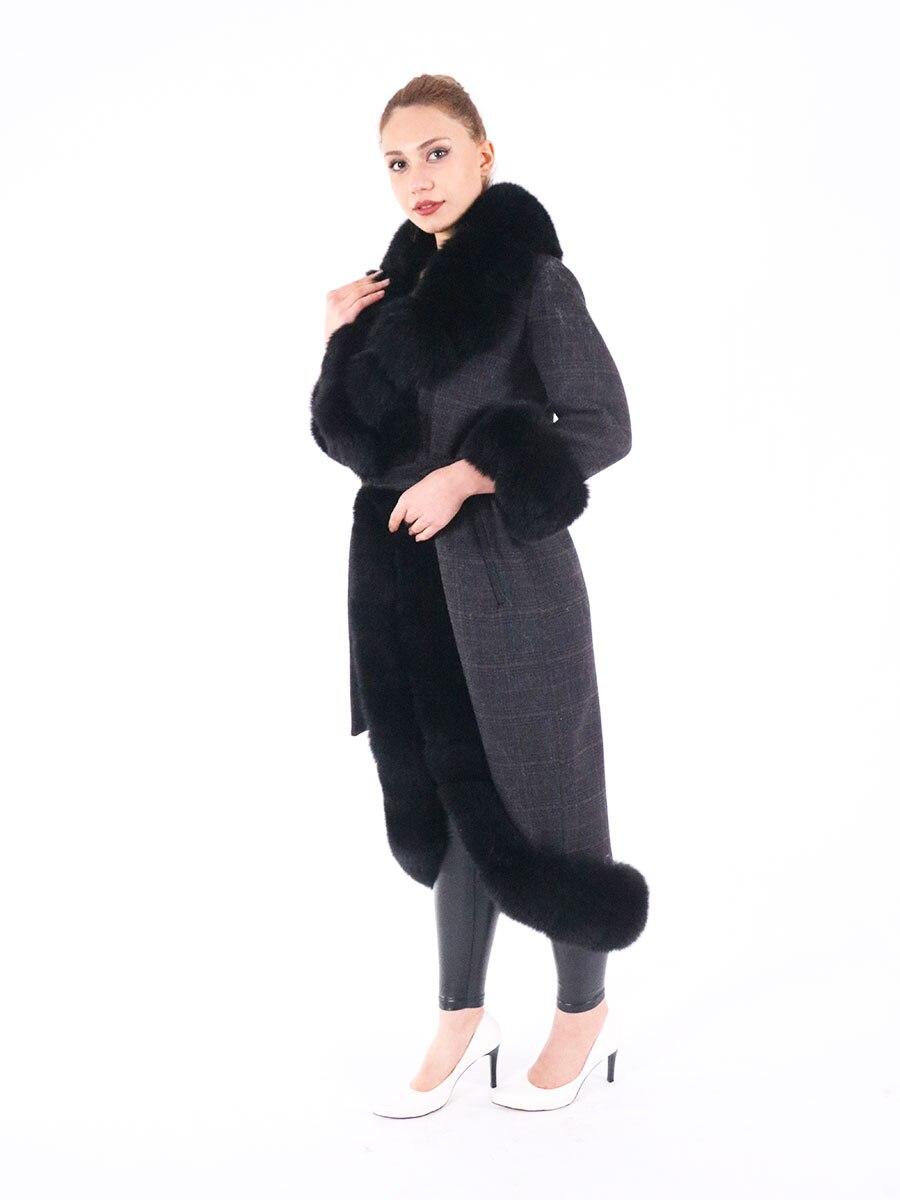 2021 Brand famous Real Alpaca wool Coat With real Fox Fur Hoodie real fur Coat Turkish