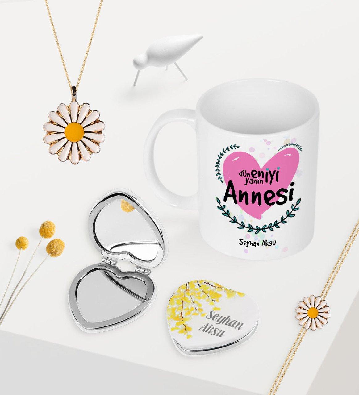 Personalized World Best Mother Mug Heart Mirror Daisy Necklace Bracelet Seti-11