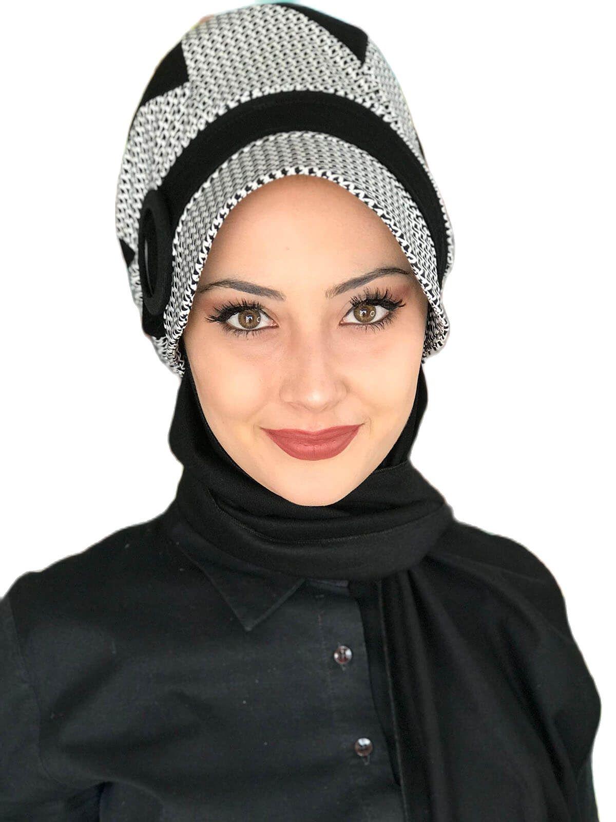 موضة جديدة 2021 الحجاب عمامة المرأة قبعة وشاح الربيع Bad-ı Saba أبيض وأسود منقوشة Passionflower مشبك قبعة سوداء