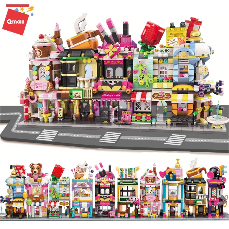 Qman Mini Street View Building Blocks City Flower Makeup Shop Coffee Store Model 3D Architectures Educational Toys For Chilren 280 pcs mini city street view building blocks coffee shop hamburger store city diy bricks toys for children christmas gifts
