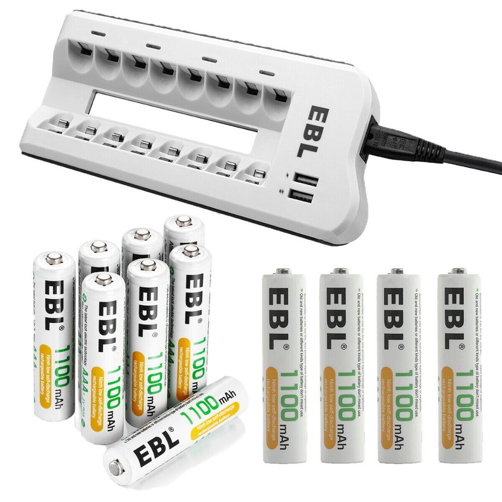 Ebl 1.2v aaa bateria 1100 mah bateria recarregável + 8 baía carregador com portas de carregamento usb duplas para aa aaa ni-mh ni-cd baterias