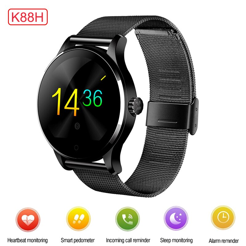 K88H Bluetooth Smart Watch IPS Voice Control Remote Camera Heart Rate Monitor Waterproof Smartwatch Pedometer for Android iOS
