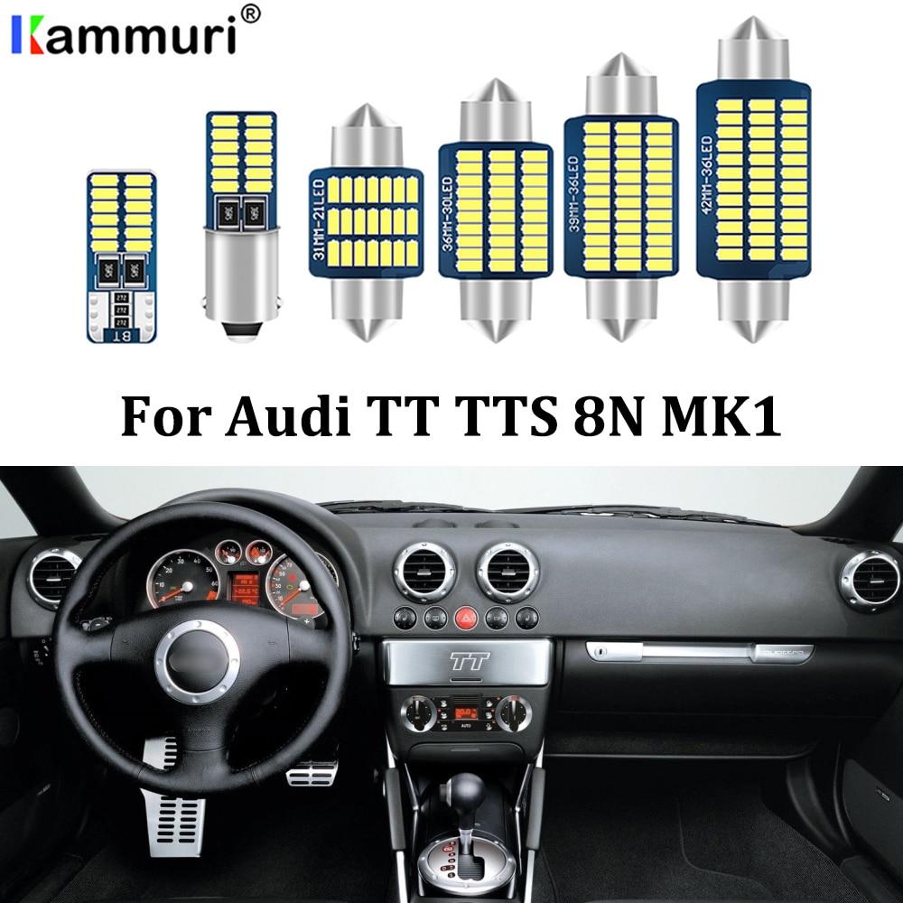 KAMMURI 12x blanco libre de Error luz LED de matrícula + Kit de luces interiores LED para Audi TT TTS 8N MK1 cuopé descapotable (1999-2006)