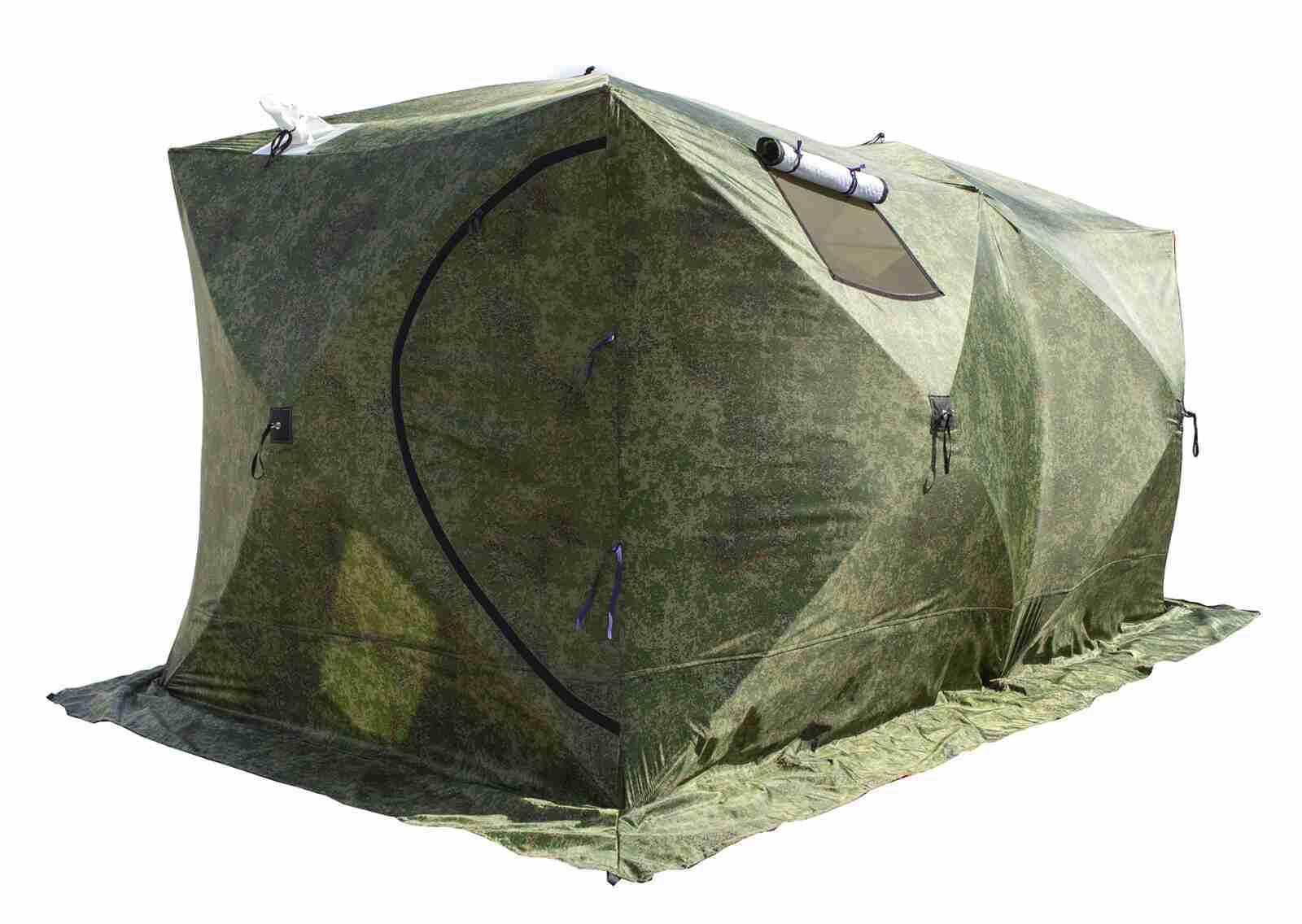 Палатка СТЭК Куб Дубль 3Т (трехслойная, камуфляж, 440х220х205 см)