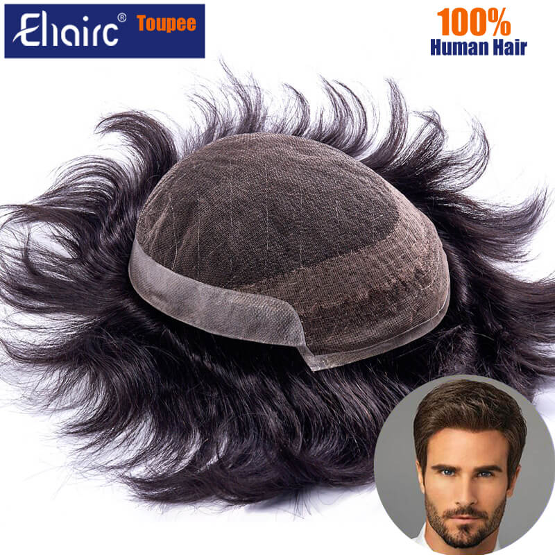 OCT Toupee For Men Lace & Pu Breathable Men's Wigs Male Hair Prosthesis 100% Natural Human Hair Wig For Men 6