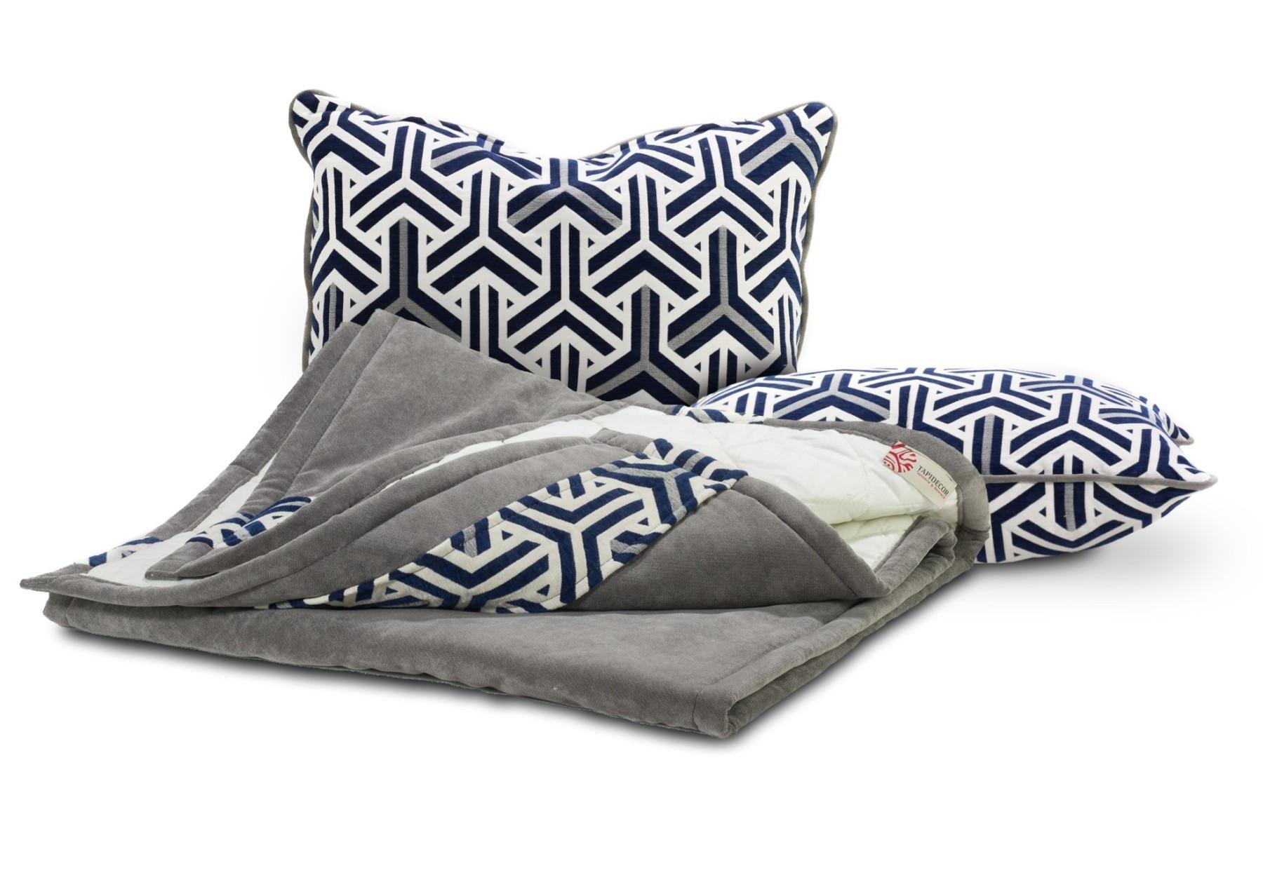 Conjunto 2 capas de almofada decorativas azul marinho/cinza geométrico 70x50 e 1 xadrez 200x65