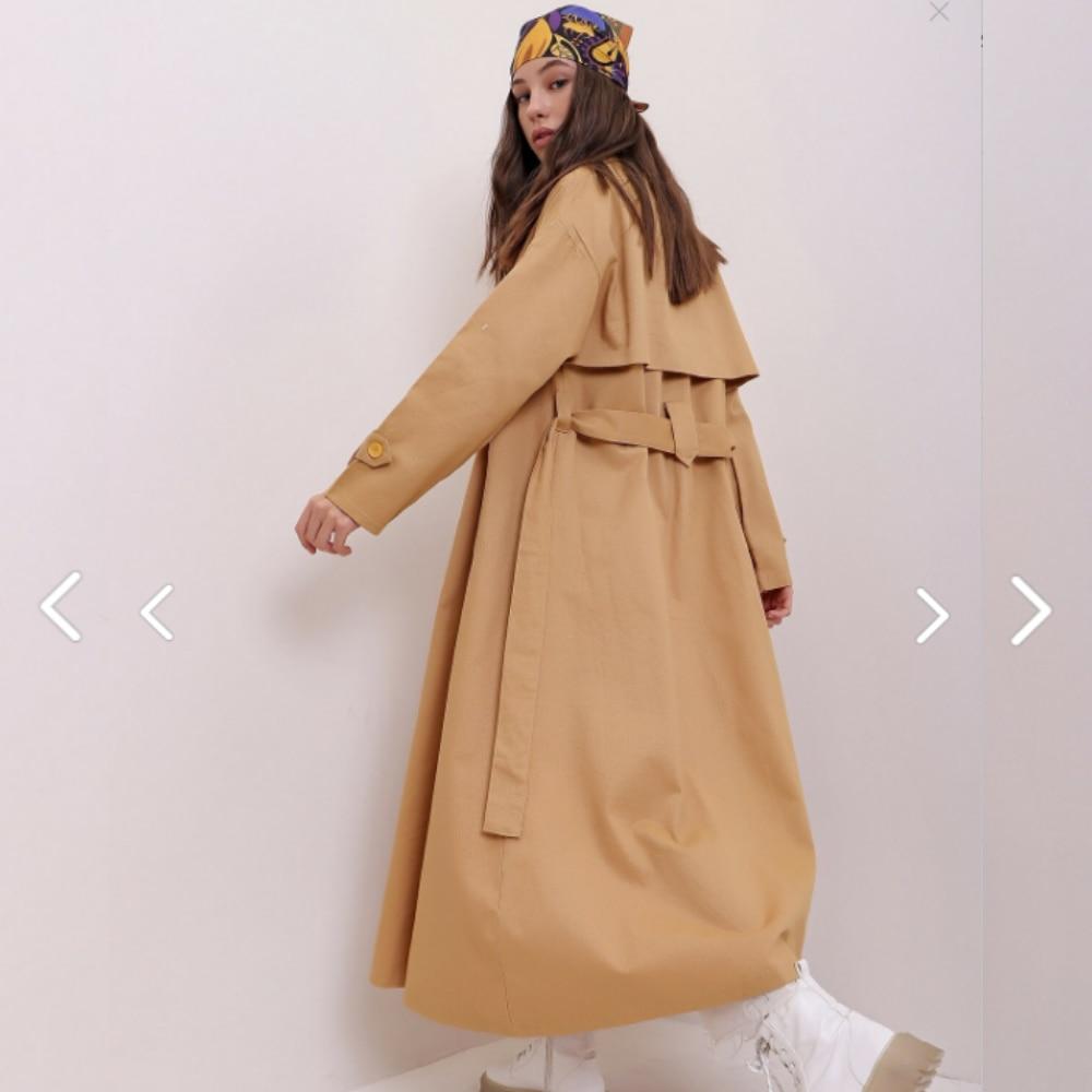معاطف عصرية للنساء لموسم خريف وشتاء 2021 جاكيت طويل بمقاس كبير مع حزام وصدرية معطف واق من المطر سترة كلاسيكية للخروج