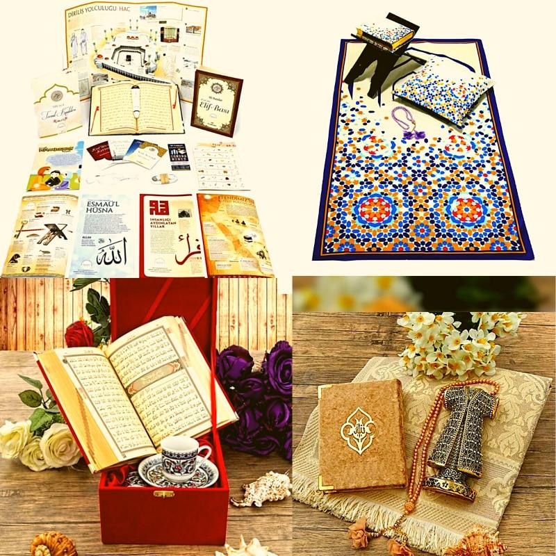 17 Pcs Muslim Set islam Gift Religious Prayer Hijab Quran Digital Pen Speaker Hajj Eid Rug Rosary Turkish Coffe Cups Set Ramadan