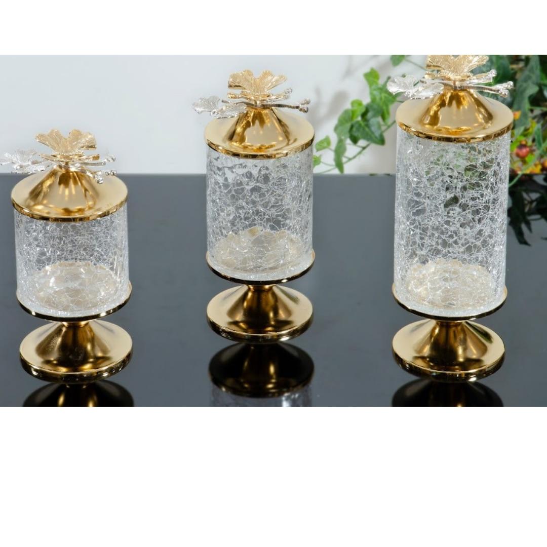 عالية الجودة الفاخرة الزجاج الحرفية 3 قطعة مجموعة جرة صندوق تخزين الشاي القهوة السكر الملح المطبخ الغذاء الحاويات محكم أغطية زجاجات
