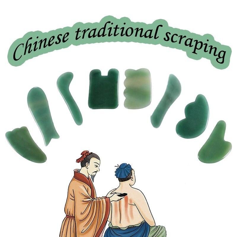 Cara Gua Sha tabla de piedra 8 unids/lote Natural Aventurina Jade masaje Gua Sha herramienta hecha a mano Facial SPA acupuntura raspado Guasha