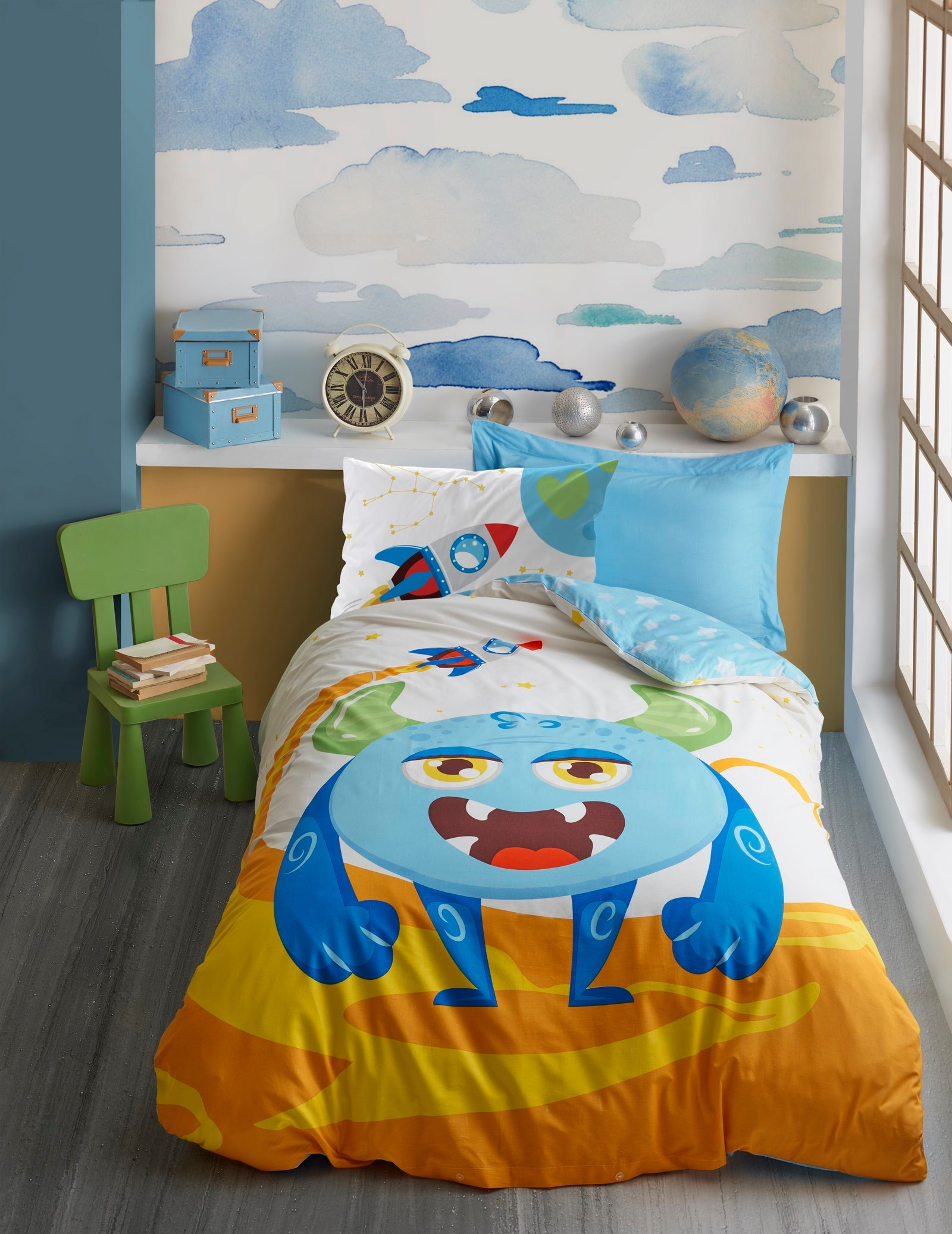 القطن صندوق تركيا واحد الطفل حاف مجموعة غطاء ، ورقة ، المخدة ، غرفة الاطفال ، هدية ، المفرش ، فتاة الصبي ، 100% القطن 3 Piece