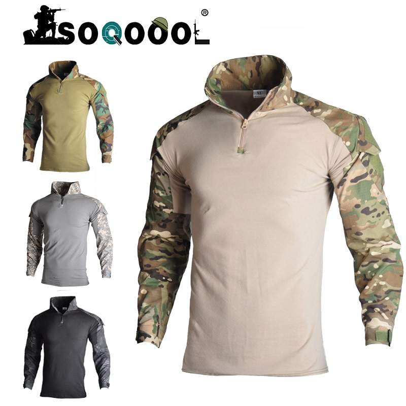 uniforme militar men tactical hunting clothing black python camouflage hunting clothes women army combat multicam shirt pants Soqoool Tactical Combat Shirt Military Uniform Us Army Clothing Airsoft Multicam Camouflage Hunting Fishing Clothes Mens