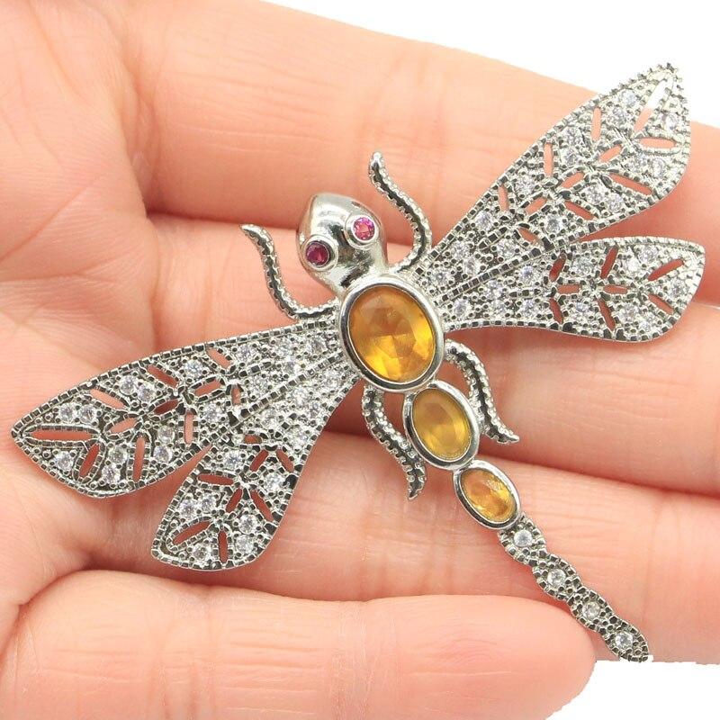 47x62mm libélula hermosa forma creado citrino dorado turmalina CZ regalo de boda broche de plata