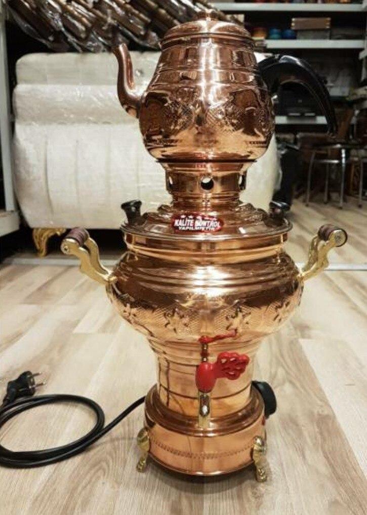 إبريق شاي نحاسي ساموفار كهربائي ، ترموستات ساموفار ، صنع يدوي ، إنتاج خاص