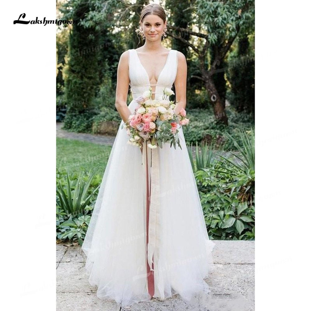 Promo Charming Tulle A-Line Wedding Dresses Sexy Deep V-Neck Sleeveless Open Back Low-V Sweep/Brush Train Bride Gowns Simple Pleats