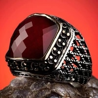 sterling silver ornamented mens ring with red zircon stone fashion turkish premium quality handmade jawelery
