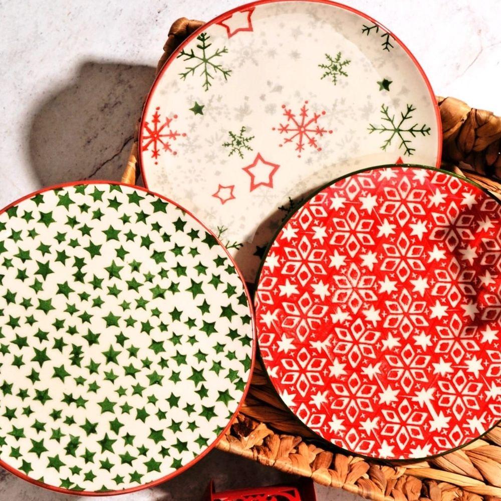 طقم اطباق عيد الميلاد 6 قطع تصميم خاص 21 سنتيمتر هدية عيد الميلاد توصيل سريع
