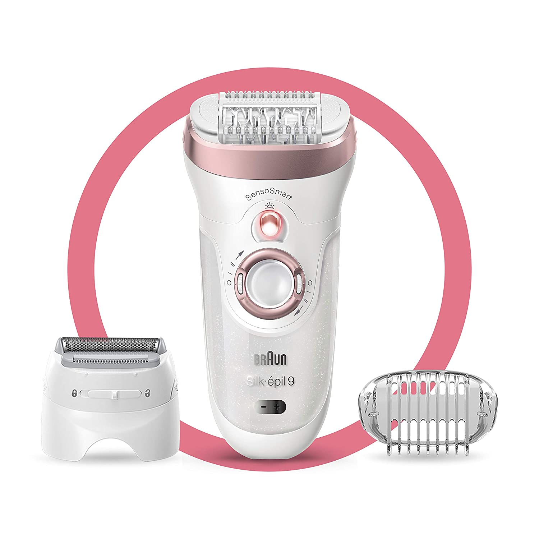 Braun Epilator Silk-épil 9 9-720, Facial Hair Removal for Women, Wet & Dry, Womens Shaver & Trimmer, Cordless, Rechargeable