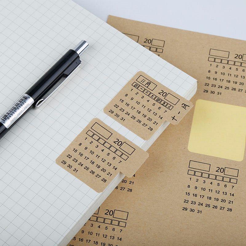 2020 neue 2 Blätter Kraft Papier Handschrift Kalender Notebook Index Label Aufkleber Kalender Aufkleber Veranstalter Kawaii Schreibwaren