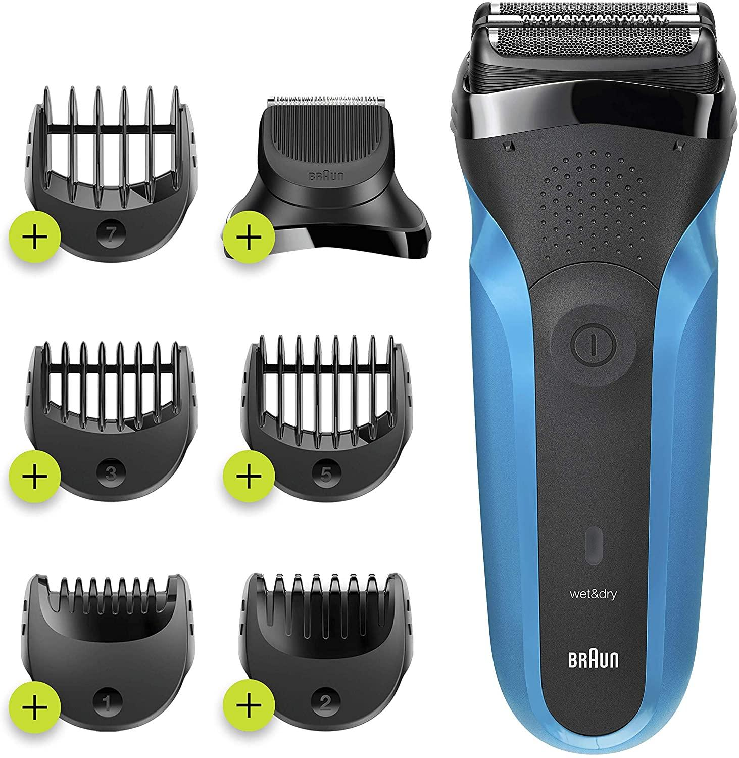 Braun Shaver 310BT,Series 3 Shave and Style Rechargeable Wet and Dry Electric Shaver, Blue/Black enlarge