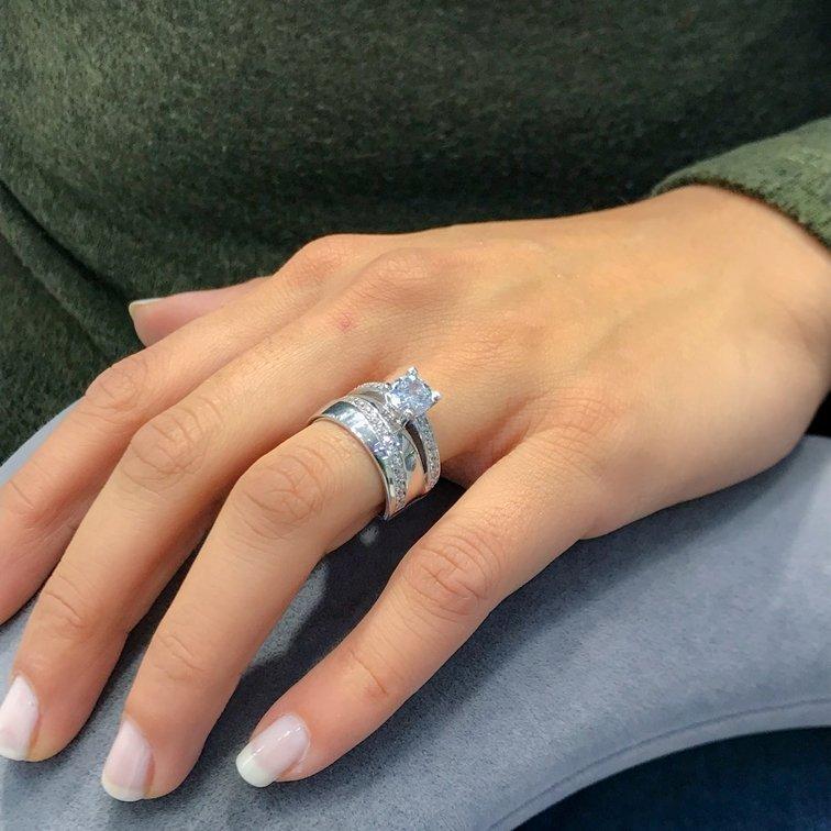 الذهب الأبيض نموذج الخطوبة خاتم الزواج الثنائي خاتم فضي