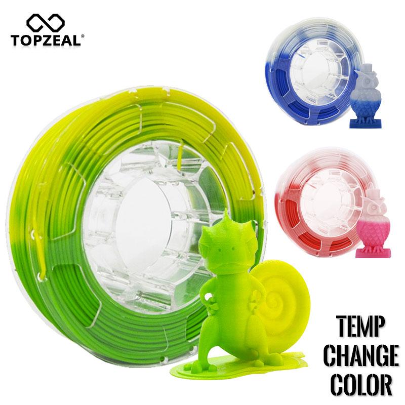 Filamento PLA TOPZEAL cambiado de Color por temperatura, bobina de 1KG filamento de 1,75mm PLA, precisión Dimensional +/-0,05mm para impresora 3D