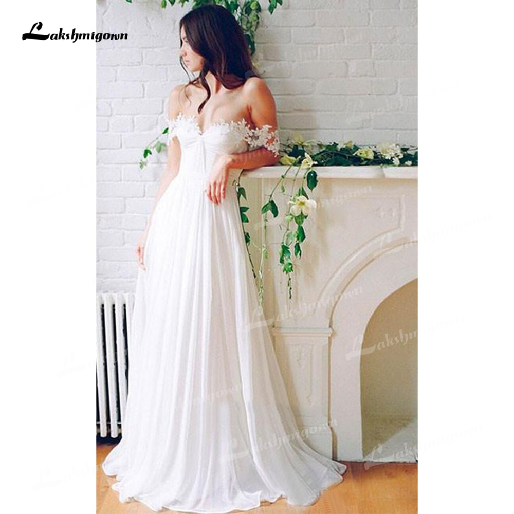 Charming Chiffon A-Line Wedding Dresses Sweetheart Neck Sleeveless Open Back Sweep/Brush Train Bride Gown Appliques Off Shoulder