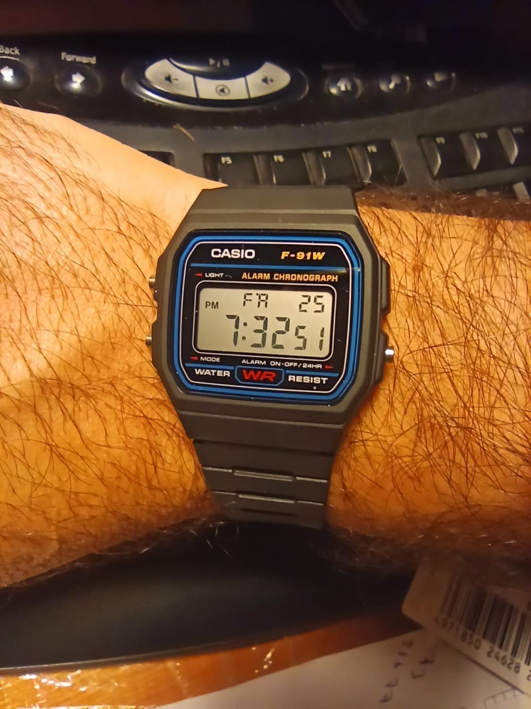 Reloj digital original Casio F-91W-1DG para hombre, reloj para hombre, reloj de soldado, resistente al agua