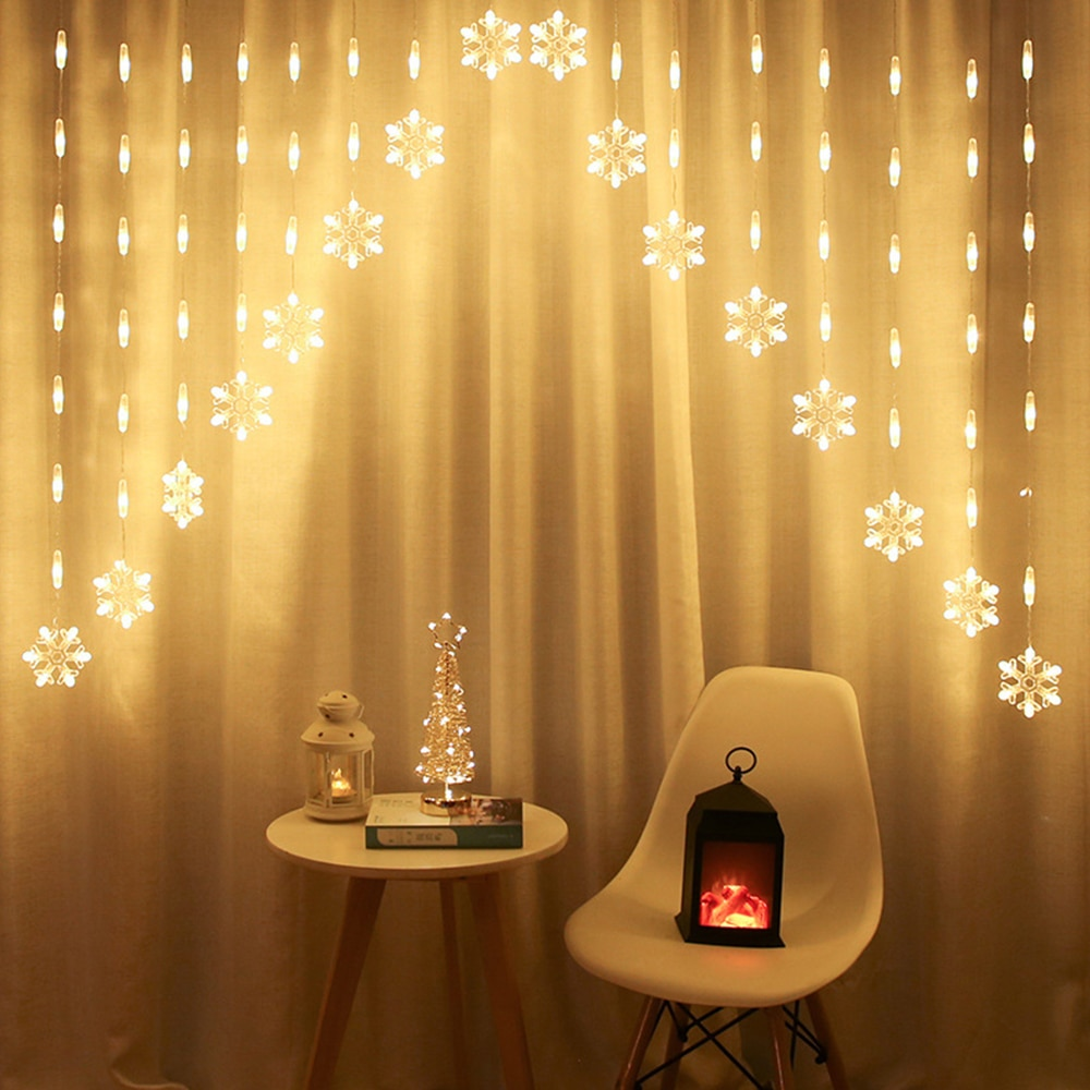 LED Curtain Fairy String Light New Year Decorations 2021 undefined Snowflake Star Christmas Decoration For Home Navidad Ornament недорого