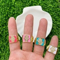 harms palm shape cz micro pave gold plated enamel ring adjustable electroplating jewelry anniversary gift