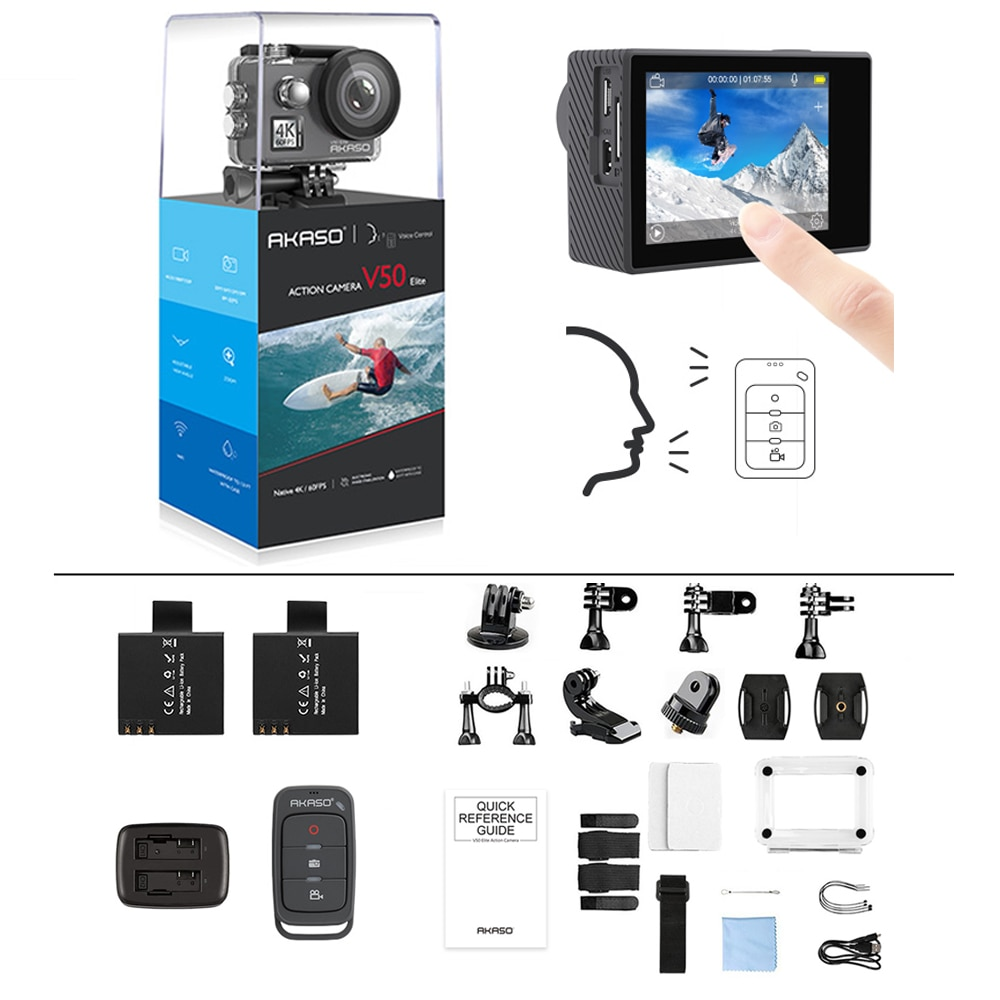 AKASO-كاميرا أكشن V50 Elite 4K/60fps ، شاشة تعمل باللمس ، مقاومة للماء ، EIS ، كاميرا رياضية ، تحكم صوتي ، خوذة تحت الماء