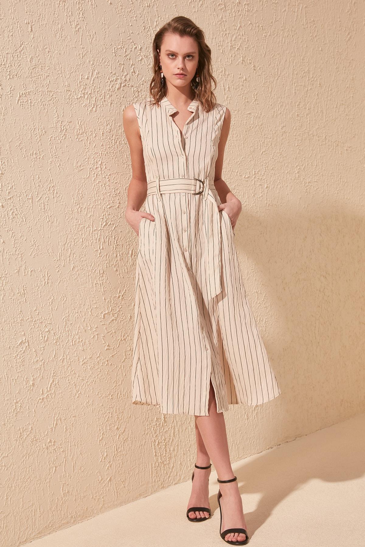 Trendyol Striped Arched Shirt Dress TWOSS20EL1041