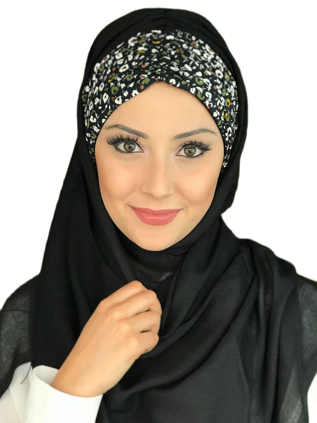 موضة جديدة 2021 الحجاب الإسلامي الملابس الإسلامية عمامة المرأة قبعة الربيع وشاح الصيف ورقة بيضاء ورقة أسود Shirred جاهزة شال
