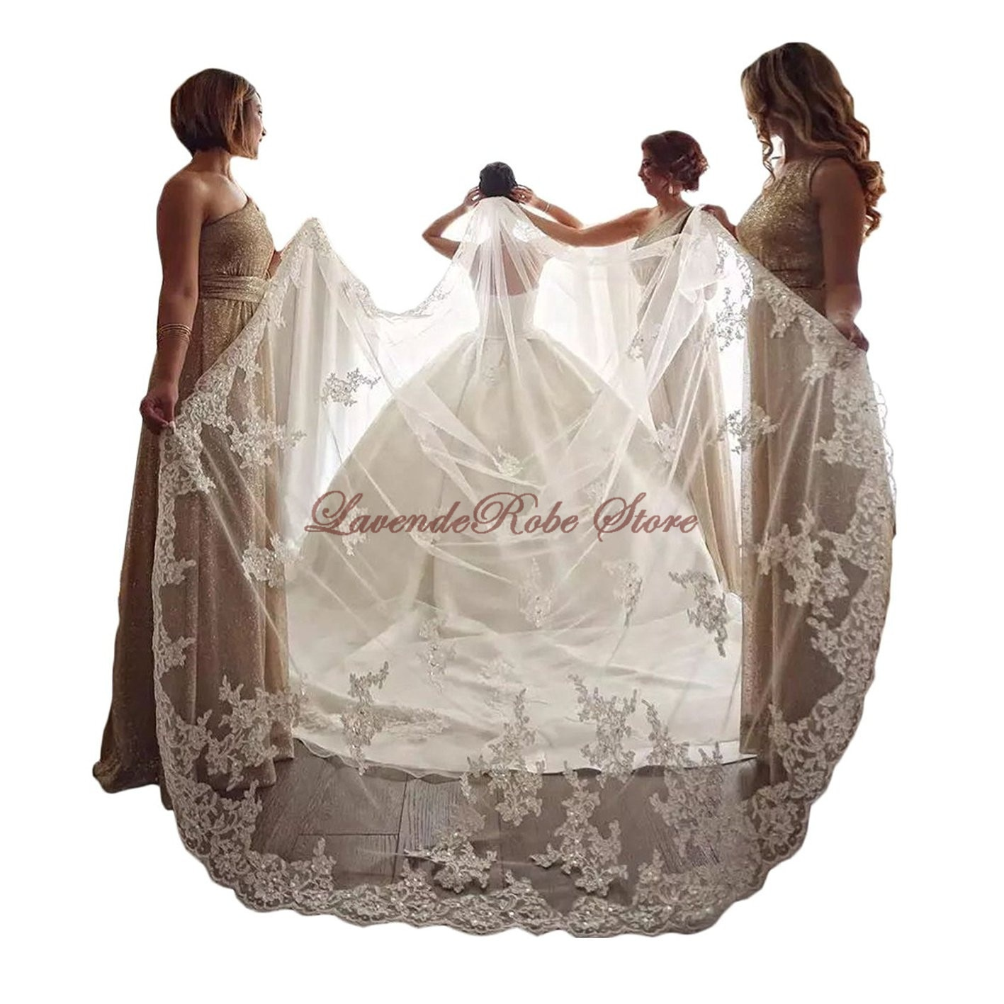 Luxury Bridal Veils Bling Tulle Cathedral Length White Ivory Lace Applique Beads Crystal Sequins Wedding Accessories