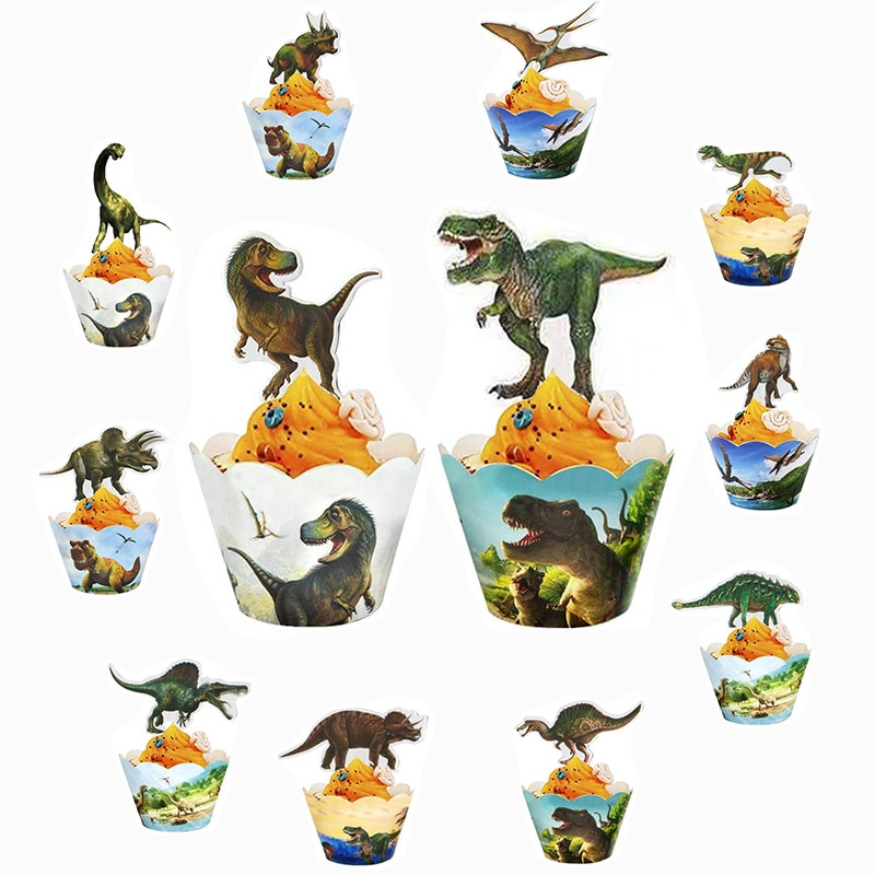 Dinosaur Cupcake Wrappers Toppers Dino Cake Topper Jurassic World Party Supplies Boys Kids Dino Party Supplies Birthday Decor